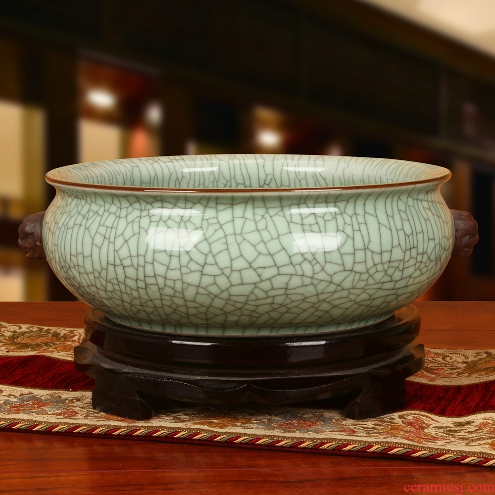 Antique elder brother up with jingdezhen ceramics slicing the tortoise tank flowerpot shallow classical Chinese style household adornment furnishing articles