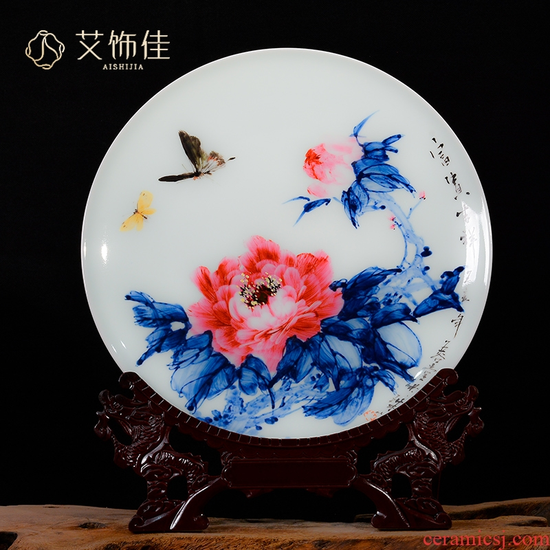 Hand - made rich auspicious porcelain of jingdezhen ceramics new Chinese style household decorative plate of the sitting room adornment is placed