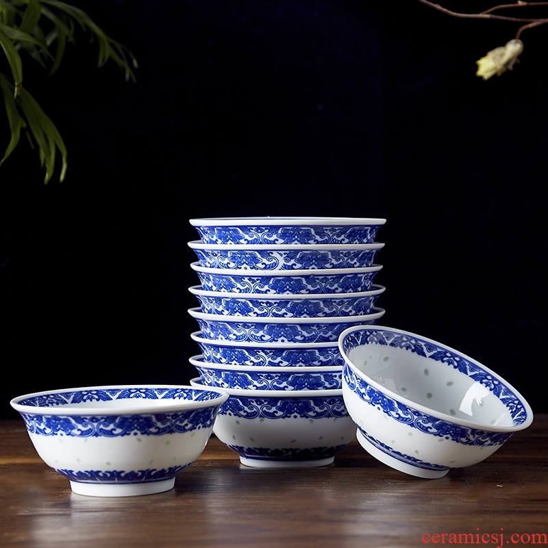 """Jingdezhen ceramic glaze and exquisite dishes of blue and white porcelain tableware under 4.5 """"5"""" 6 """"rice bowls rainbow such as bowl soup bowl"""