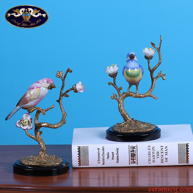 Creative ceramics with copper branches bird sitting room TV ark place in Europe and the study of example room decoration home decoration