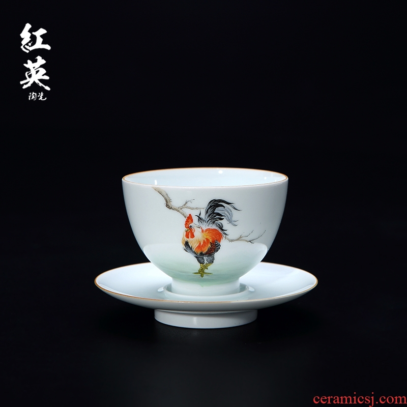 Red the jingdezhen ceramic cylinder cup chicken kung fu tea cups small household hand - made the master sample tea cup cup single CPU