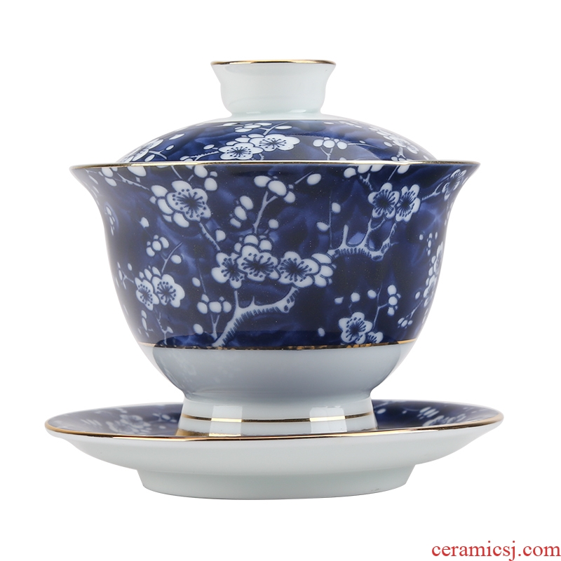 Jingdezhen blue and white porcelain tea tasted silver tureen silver gilding three to 999 kungfu tea ware bowl ceramic cups