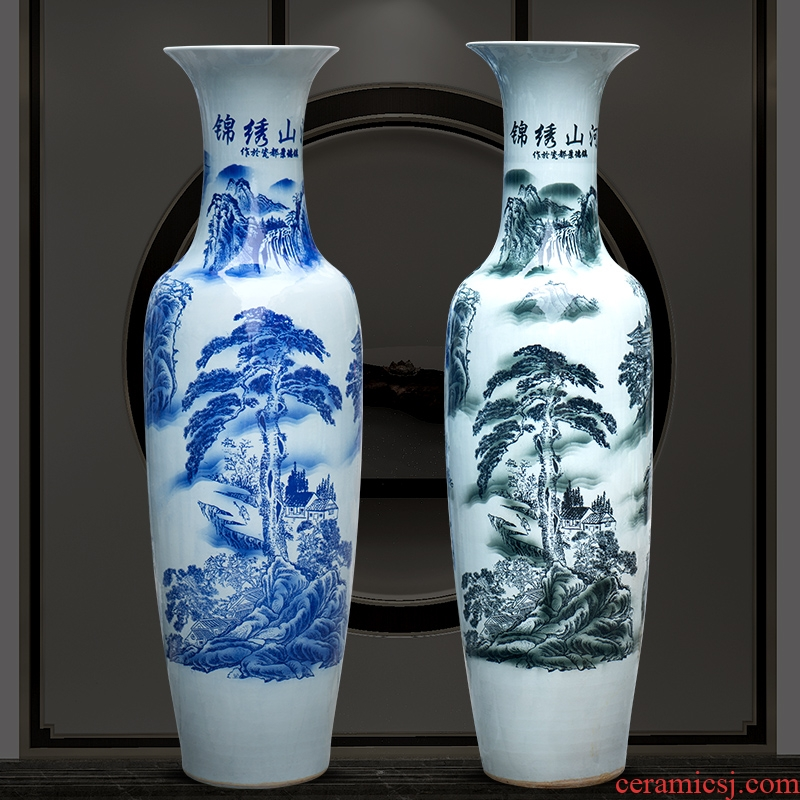 Jingdezhen ceramic floor big vase archaize jin rust was sitting room place of blue and white porcelain flower arranging hotel decoration