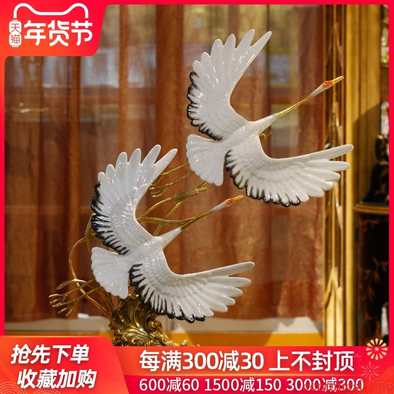 European home furnishing articles threesome cranes sitting room porch decoration of new Chinese style between example of high - grade ceramic arts and crafts