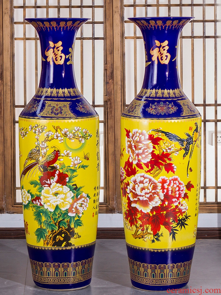 Jingdezhen ceramics furnishing articles sitting room of large vase flower arranging hotel opening move Chinese style household ornaments