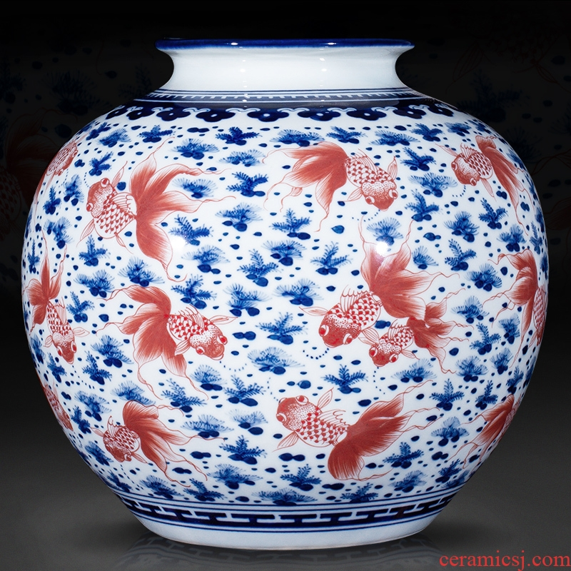 Jingdezhen ceramics vase antique blue - and - white goldfish tattoo vase new porch sitting room of Chinese style household act the role ofing is tasted furnishing articles