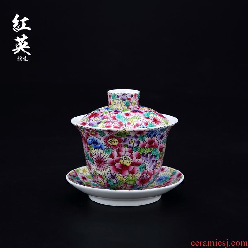 Red the jingdezhen ceramic colored enamel than hand - made kung fu tea set tea bowl three tureen tea cups