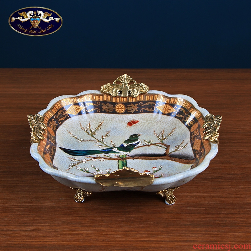 European creative candy dishes dry fruit tray was home sitting room key-2 luxury American household ceramics keys to receive dish furnishing articles