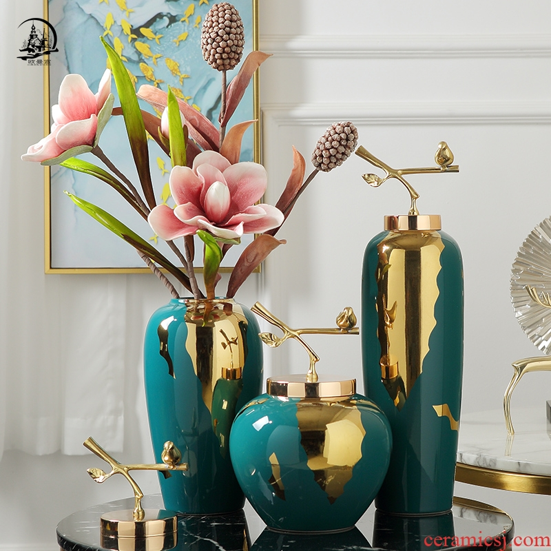 European ceramic vase furnishing articles simulation flower decoration in American TV cabinet light key-2 luxury the sitting room porch home decoration