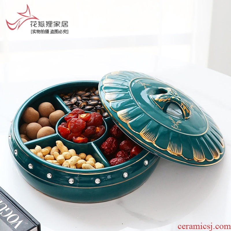 European - style key-2 luxury light green home sitting room pure glaze ceramic glaze compote dry fruit tray frame with cover candy box snack plate
