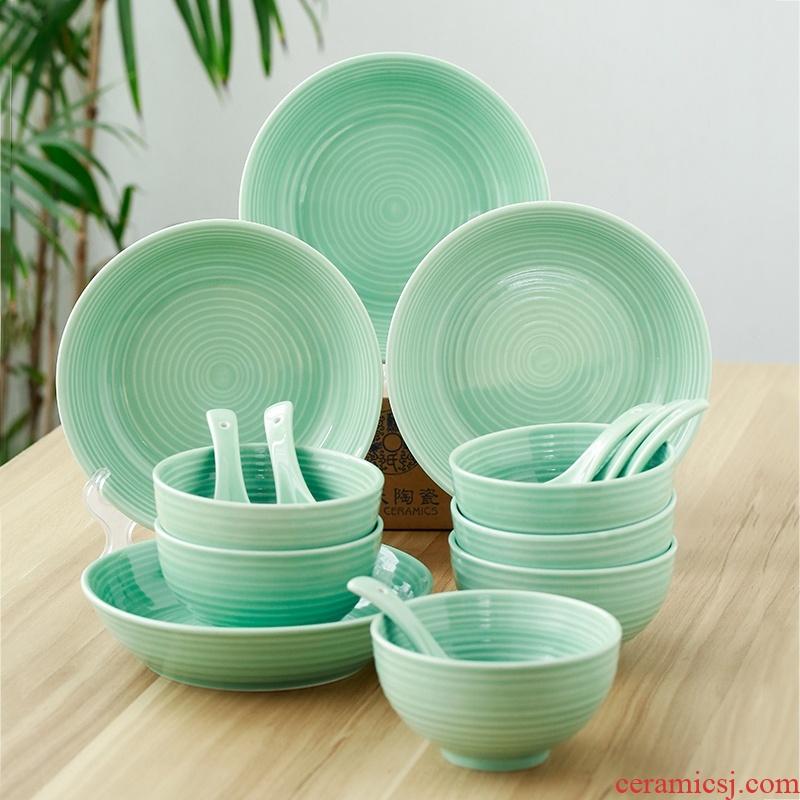The Sioux ceramic tableware suit longquan celadon glaze bowls plates teaspoons of 16 head set of ceramic rings