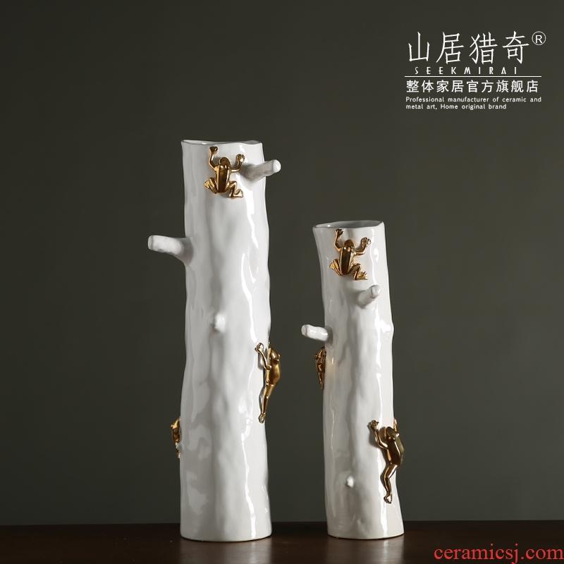 Rural Rural household ceramics high tree frog vase furnishing articles creative art deco straight white, gray, a vase