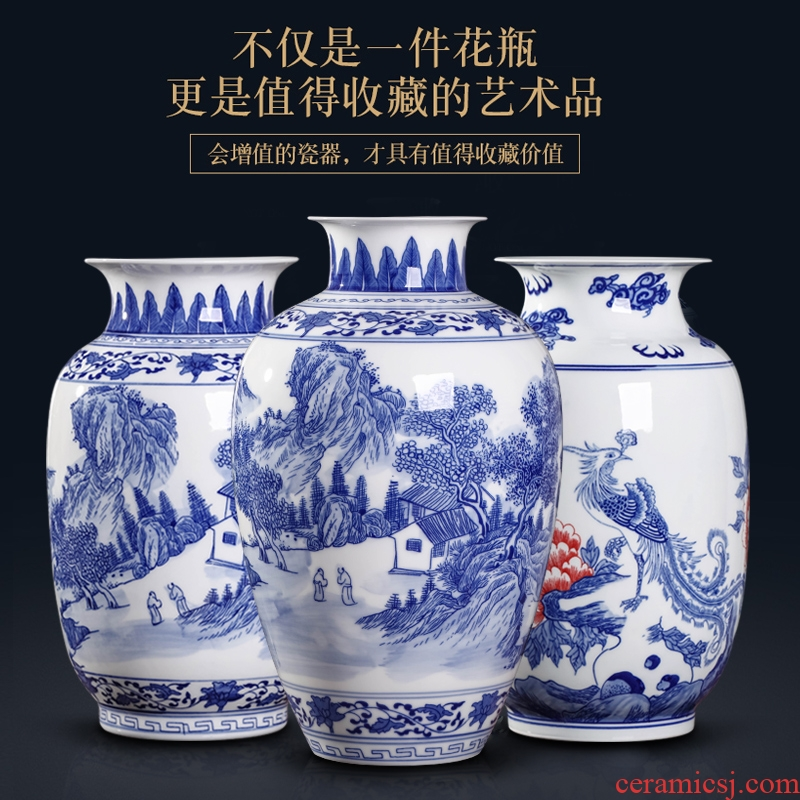 Blue and white porcelain vases, jingdezhen ceramics hand - made youligong of Blue and white porcelain vase furnishing articles furnishing articles rich ancient frame sitting room