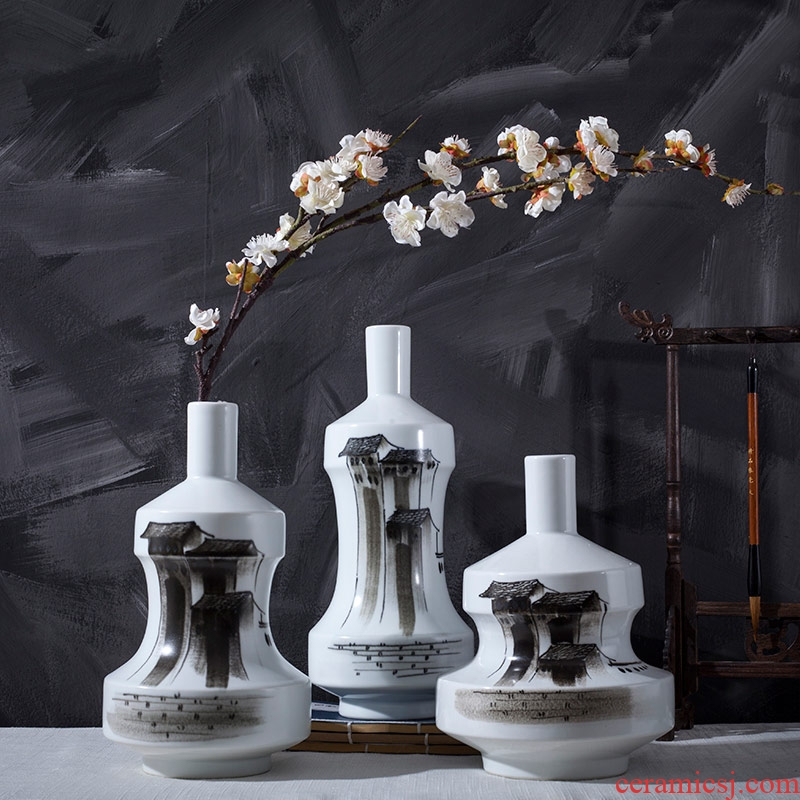 Rice lu thought of modern new Chinese style ceramic hand - made flower vase creative home sitting room dining - room place ornament