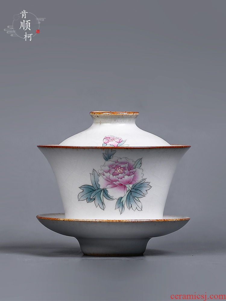 Jingdezhen hand - made peony three tureen tea cups only single your up ceramic protect hot tea tureen suits for