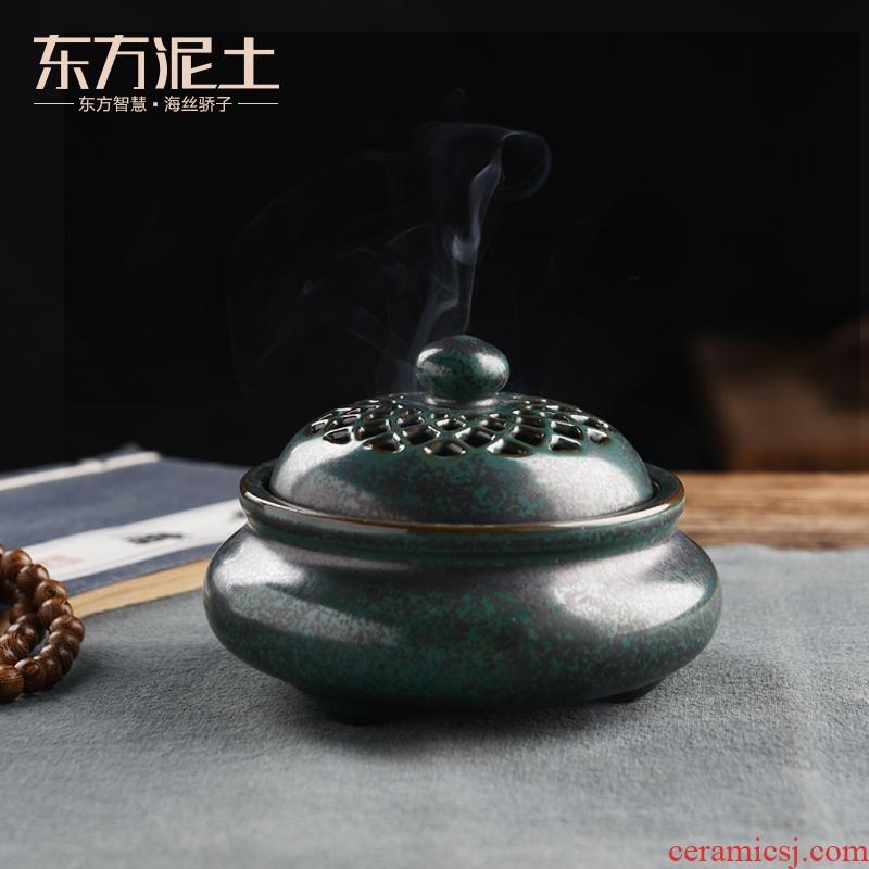 Oriental antique incense buner household indoor soil TanPan fragrant aroma stove lotus pattern variable glaze ceramic art