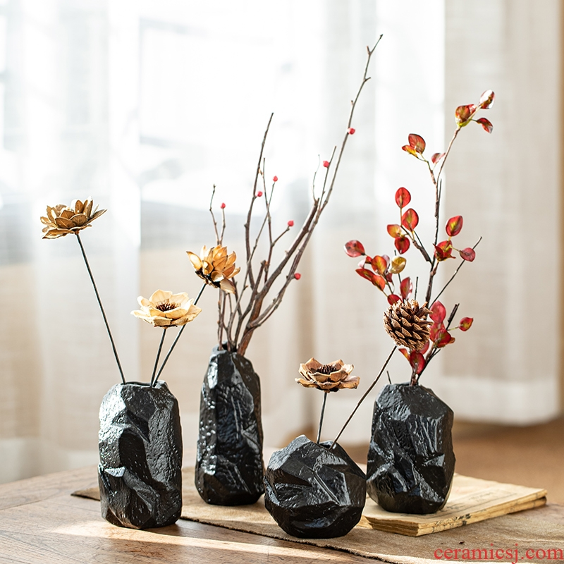 New Chinese style household act the role ofing is tasted furnishing articles imitation ceramic vase stone mesa adornment dried flower simulation flower, flower arrangement