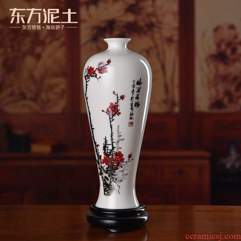Oriental soil hand - made name plum flower vase dehua white porcelain ceramics furnishing articles of new Chinese style decoration/get a bottle