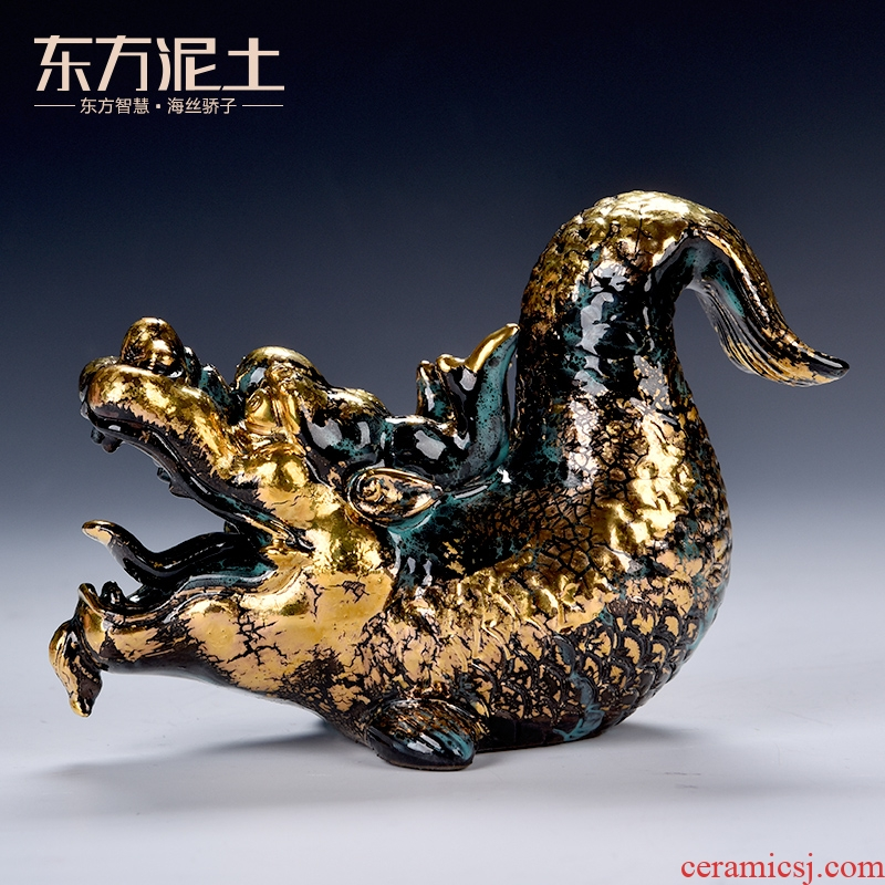 Oriental clay ceramic artisans Zhang Chang the teacher Lin, a bronze color series art furnishing articles/aojiang fish