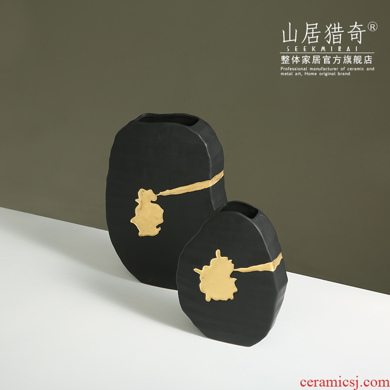 American light key-2 luxury furnishing articles of new Chinese style ceramic vase flower arrangement sitting room TV cabinet decorative flower shaped flat bottles