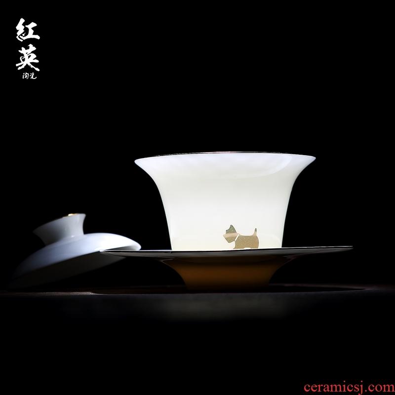 Red the jingdezhen ceramic kung fu tea set three see colour tea bowl to tureen manual sweet white jade porcelain cups