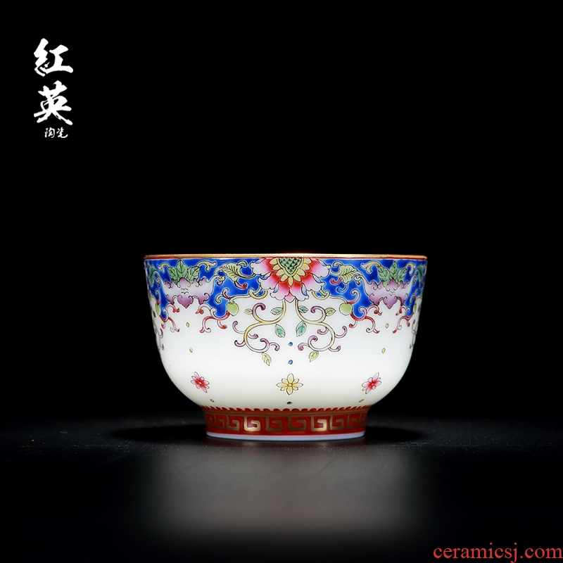 Red the jingdezhen ceramic fuels the hand - made enamel cup small sample tea cup flower is kung fu tea master cup single CPU