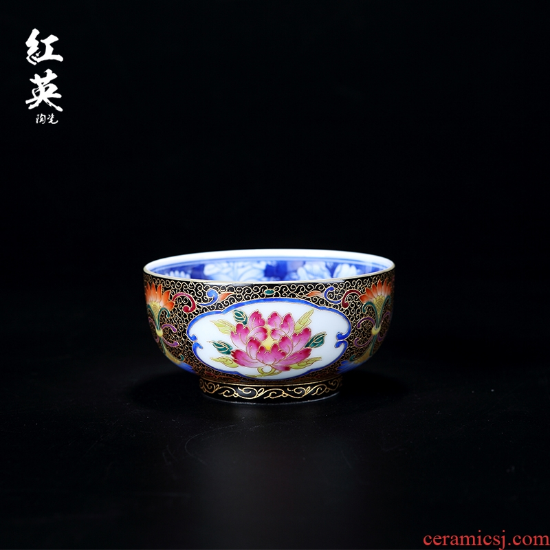 Red the jingdezhen ceramic wire inlay colored enamel porcelain teacup kung fu tea cups large sample tea cup master cup single CPU