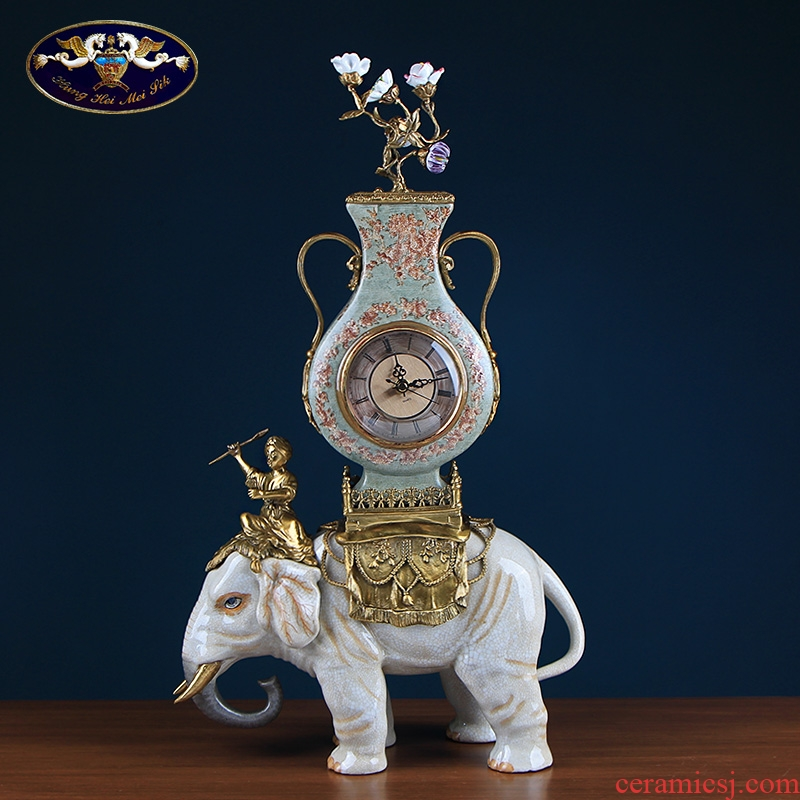 Europe type restoring ancient ways is the elephant clock ceramic table clock with copper creative clock home sitting room adornment furnishing articles