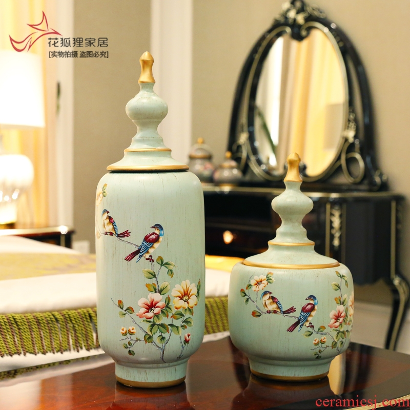 American retro ceramic storage tank creative European - style caddy fixings sitting room porch ark adornment furnishing articles household act the role ofing is tasted