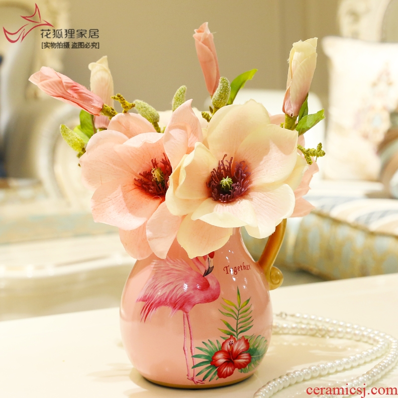 American creative ceramic table flower art furnishing articles European sitting room small and pure and fresh vase floral decoration wedding gift