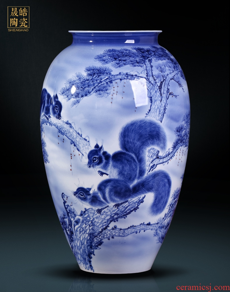 The Master of jingdezhen ceramics hand - made of blue and white porcelain vase sitting room home decoration collection handicraft furnishing articles
