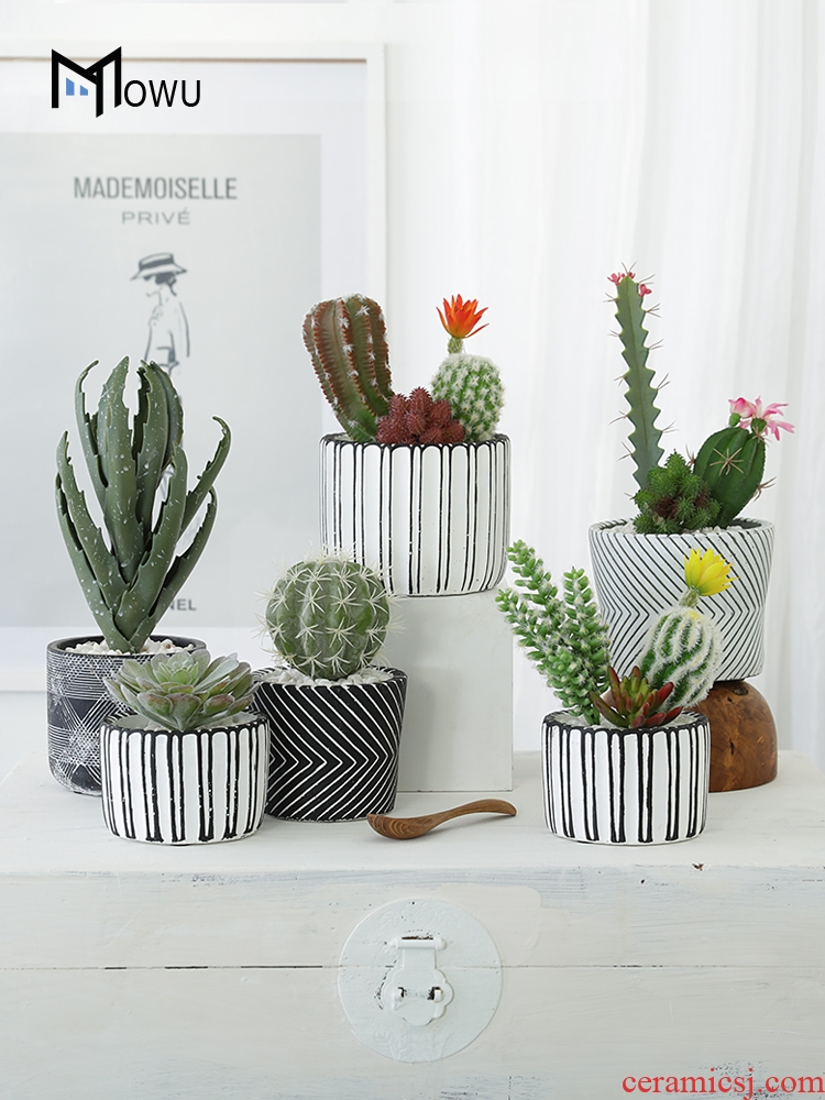 The house, The Nordic simulation more meat small indoor artificial flowers clay cactus green plant bonsai The plants sitting room adornment is placed