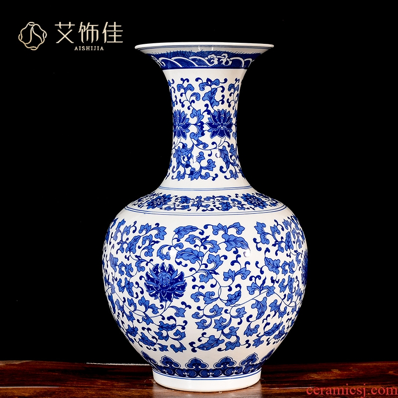 Jingdezhen blue and white tie up branch lotus flower arranging archaize ceramic vases, new Chinese style living room TV cabinet porch floor furnishing articles