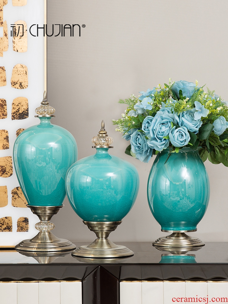 Europe type TV ark, ceramic furnishing articles between example American wine home decoration vase sitting room porch crafts