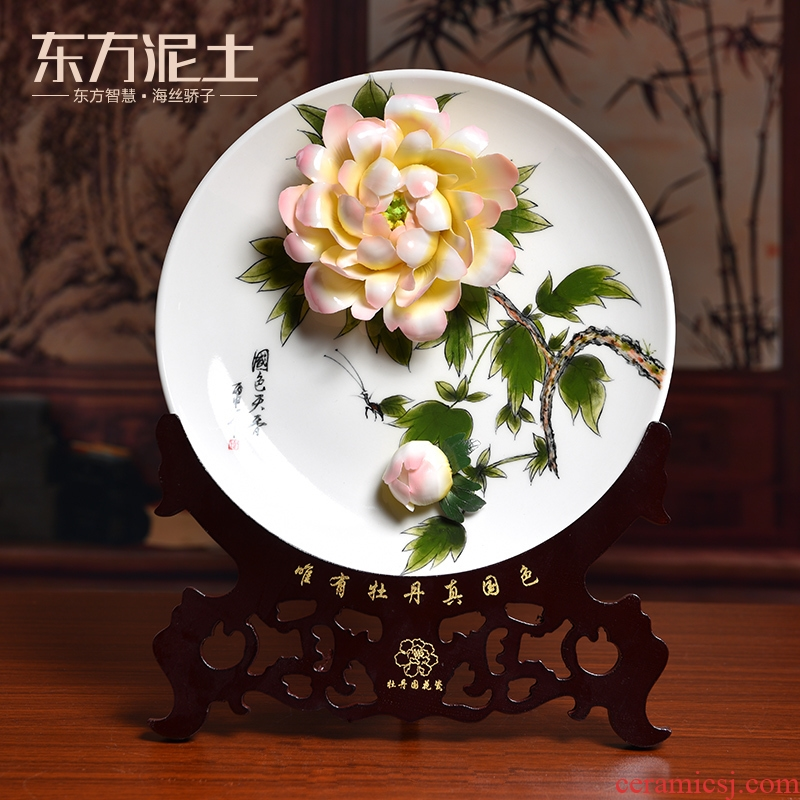 Oriental clay ceramic 10 inches hand - made luoyang peony hang dish furnishing articles sat plate of classical Chinese style living room TV cabinet