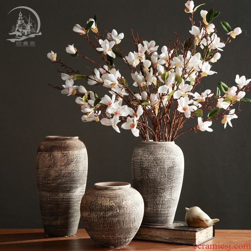 Ceramic plug-in restoring ancient ways dried flowers, soft adornment ornament TV ark, creative home sitting room porch table vase furnishing articles