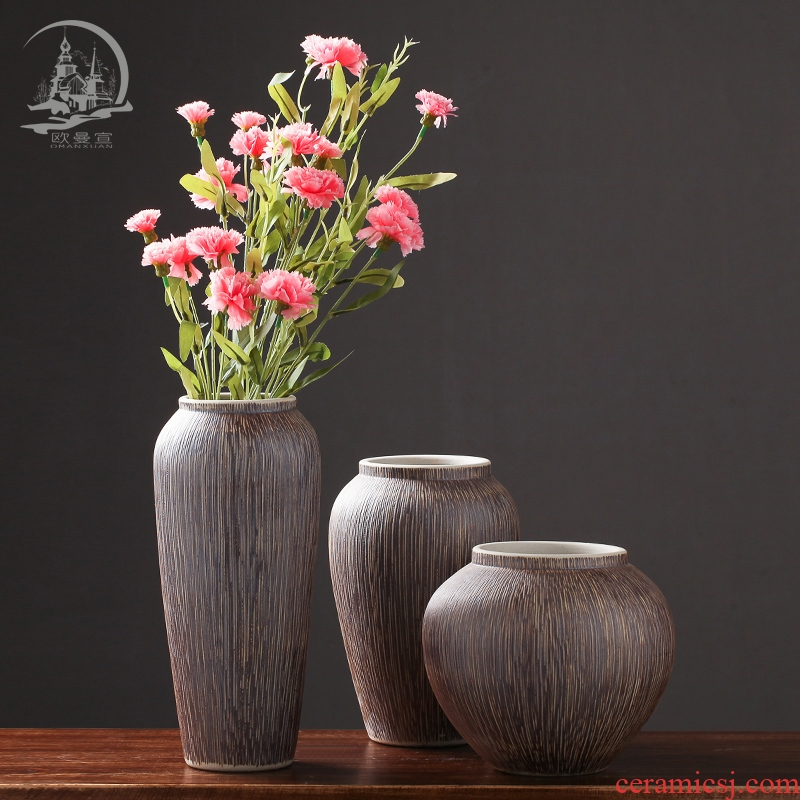 Ceramic retro floret bottle of flower arranging place the dried flower implement creative coarse pottery household soft adornment ornament sitting room