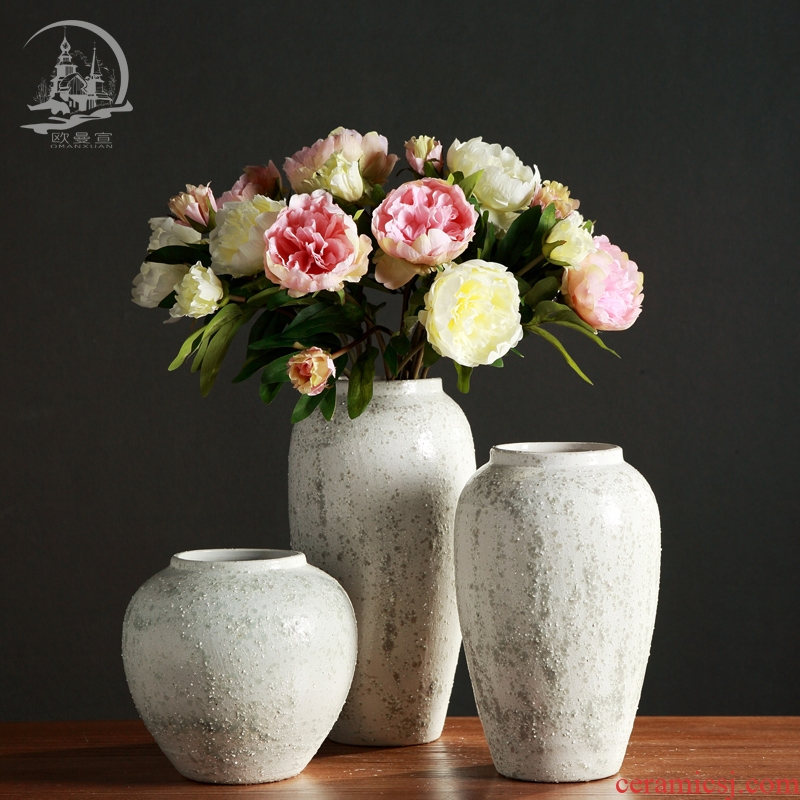 Jingdezhen retro TV ark, large - sized ceramic vases, flower arranging is placed in the sitting room porch creative coarse pottery decoration