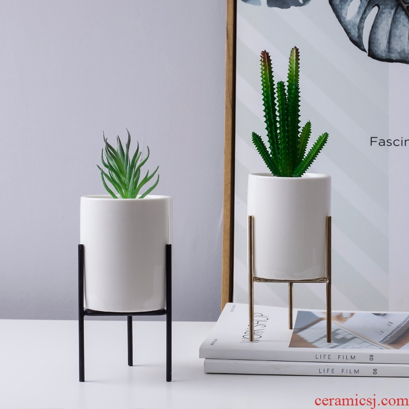 The Nordic idea indoor household green plant fleshy flower pot pot furnishing articles, wrought iron ceramic flower POTS, I and contracted move