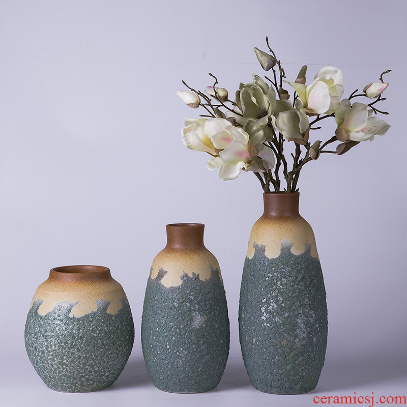 Jingdezhen ceramic hydroponic Chinese style restoring ancient ways move three - piece vases, flower arrangement home TV ark adornment furnishing articles