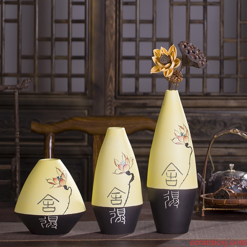 Modern new Chinese style is pure hand - made lotus between three - piece ceramic vase example household act the role ofing is tasted decorative porcelain furnishing articles