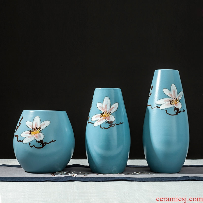 New Chinese style example room soft furnishing articles of jingdezhen ceramic arts and crafts three - piece vases, flower arrangement, European - style decoration