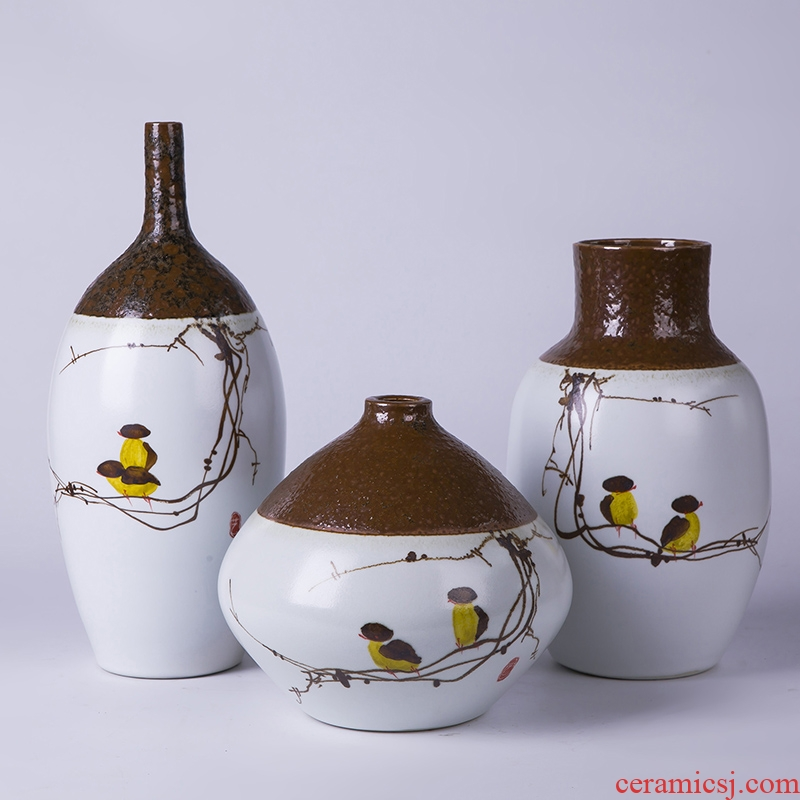 The sitting room a three - piece furnishing articles contracted and I ceramic vase dry flower, TV ark, porch fashion home decoration