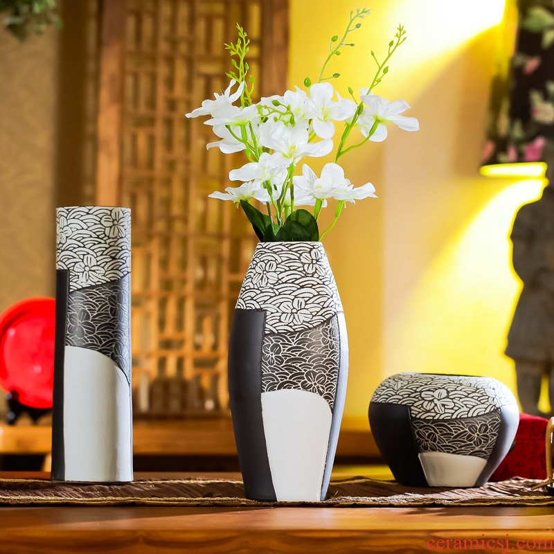 Jingdezhen checking ceramic vases, I and contracted three - piece household decorations creative living room a study place