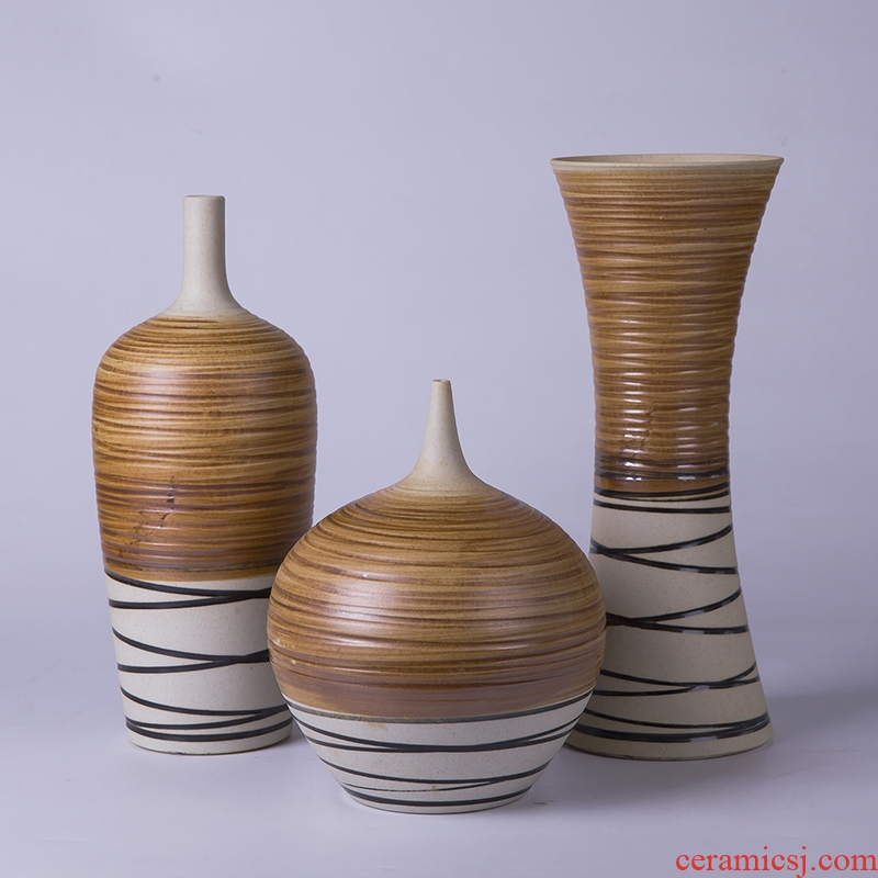 Modern creative new Chinese style ceramic vase three - piece porch home furnishing articles furnishing articles TV vase