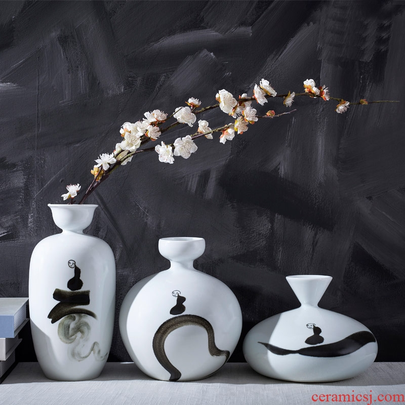 Jingdezhen ceramic hand - made vases, new Chinese style three - piece ink painting the living room TV cabinet desktop ornaments furnishing articles