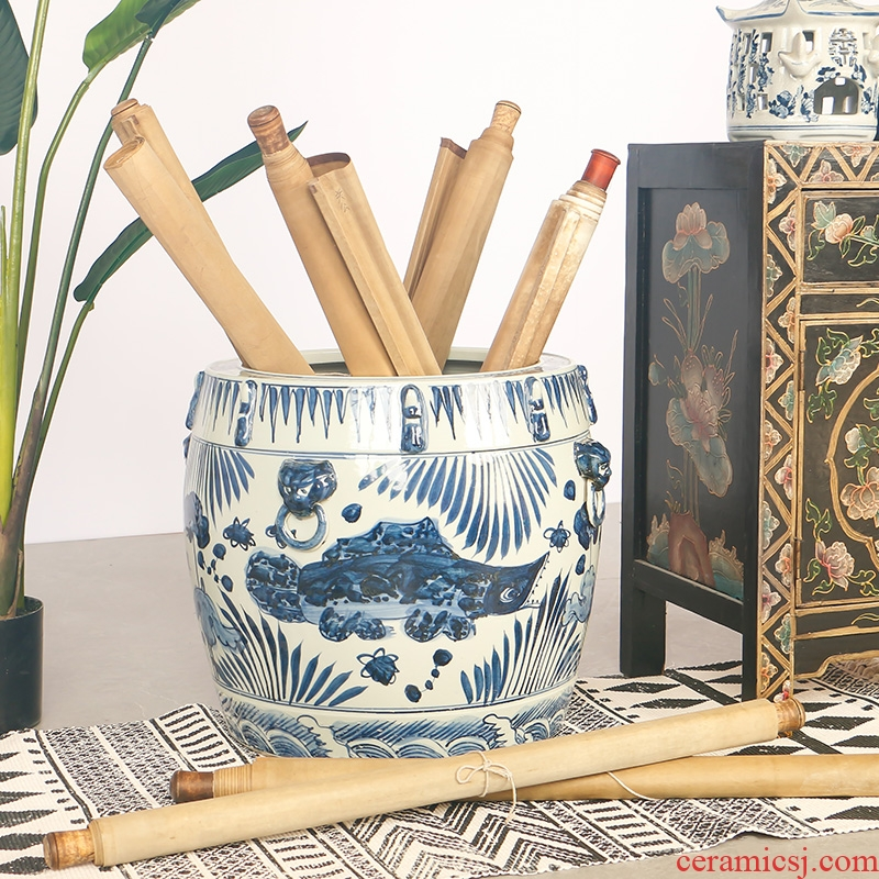 Jingdezhen blue and white porcelain hand - made the sitting room porch ground study Chinese antique calligraphy and painting cylinder art big furnishing articles