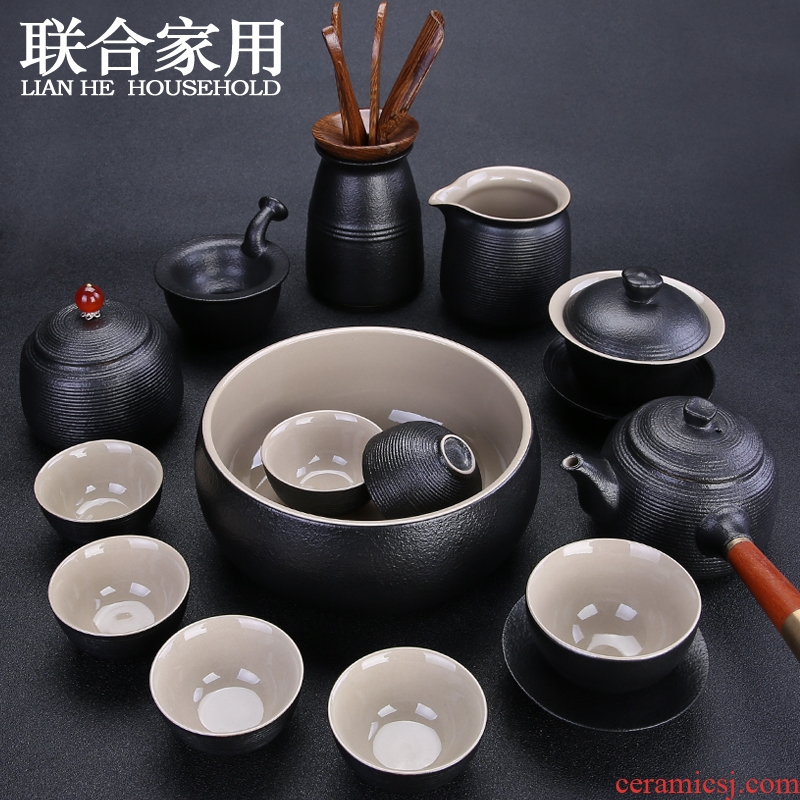 To be household contracted tea suit black ceramic kung fu tea set a complete set of coarse pottery teapot teacup tureen teapot