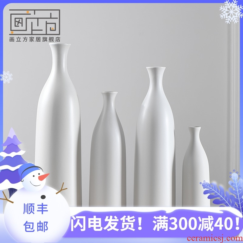 Cubic Nordic white ceramic vase made penjing modern household soft adornment flower arranging flowers is the living room