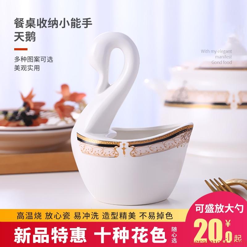 Jingdezhen ceramic household spoon, chopsticks rack creative swans tableware placed spoon, hotel kitchen receive